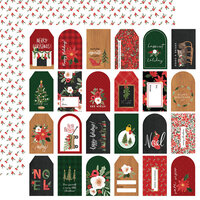 Carta Bella Paper - Happy Christmas Collection - 12 x 12 Double Sided Paper - Gift Tags