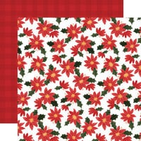 Carta Bella Paper - Happy Christmas Collection - 12 x 12 Double Sided Paper - Popping Poinsettias