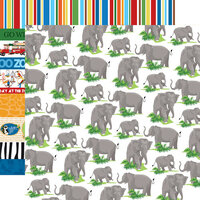 Carta Bella Paper - Zoo Adventure Collection - 12 x 12 Double Sided Paper - Elephants