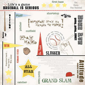 Carolee's Creations Adornit - Baseball Collection - Paper - Baseball Words - click to enlarge