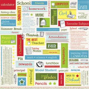 Carolee's Creations Adornit - School Days Collection - Paper - School Words Boy