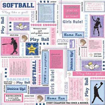 Carolee's Creations - Adornit - Softball Collection - 12 x 12 Paper - Softball Block