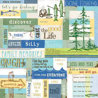 Carolee's Creations - Adornit - Gone Fishing Collection - 12 x 12 Paper - Fishing Adventure