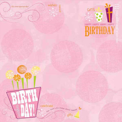 Carolee's Creations - Adornit - Girl Birthday Collection - 12 x 12 Paper - Birthday Wishes Girl