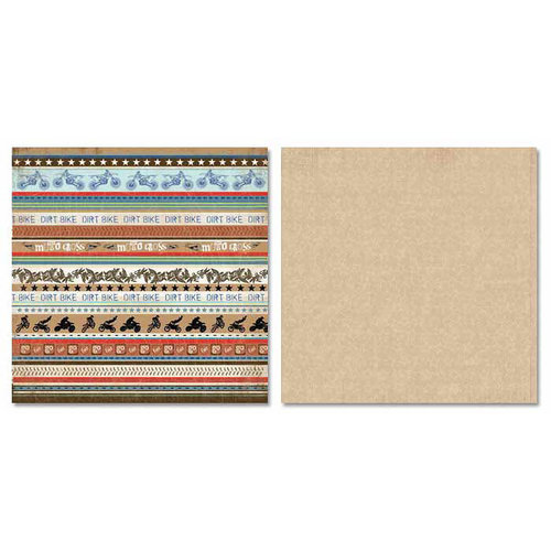 Carolee's Creations - Adornit - Dirt Bike Collection - 12 x 12 Double Sided Paper - Dirt Bike Stripe