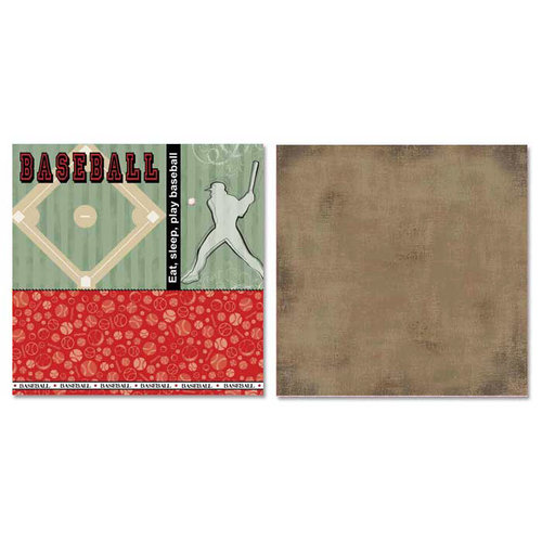 Carolee's Creations - Adornit - Baseball Collection - 12 x 12 Double Sided Paper - Out of the Park!