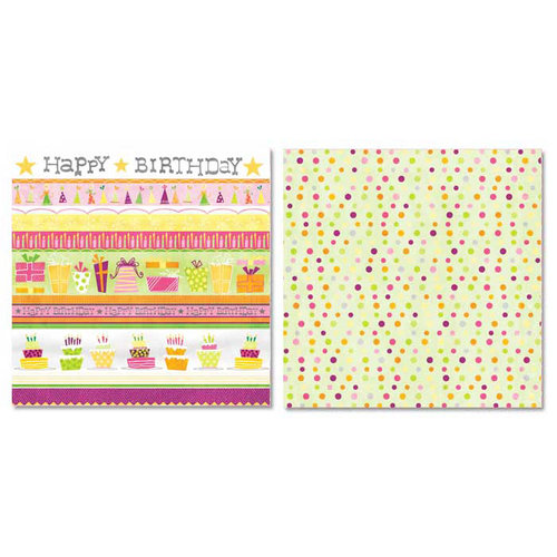 Carolee's Creations - Adornit - Girl Birthday Collection - 12 x 12 Double Sided Paper - Girl Birthday Stripe