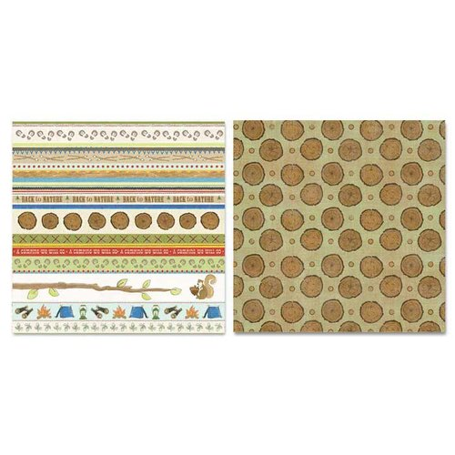 Carolee's Creations - Adornit - Camping Friends Collection - 12 x 12 Double Sided Paper - Camping Stripe Cut Up