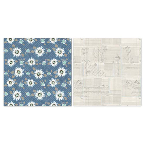 Carolee's Creations - Adornit - Capri Taupe Collection - 12 x 12 Double Sided Paper - Sapphire Daisy