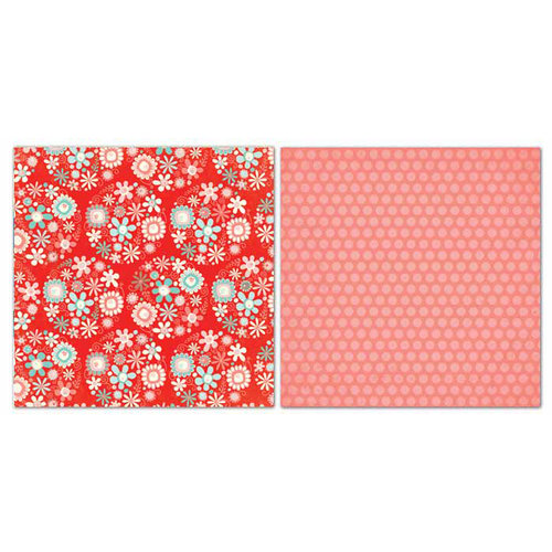 Carolee's Creations - Adornit - Nested Owls Coral Collection - 12 x 12 Double Sided Paper - Daisy Bouquet