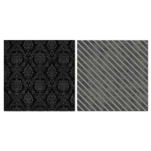 Carolee's Creations - Adornit - Blender Basics Collection -12 x 12 Double Sided Paper - Black Damask