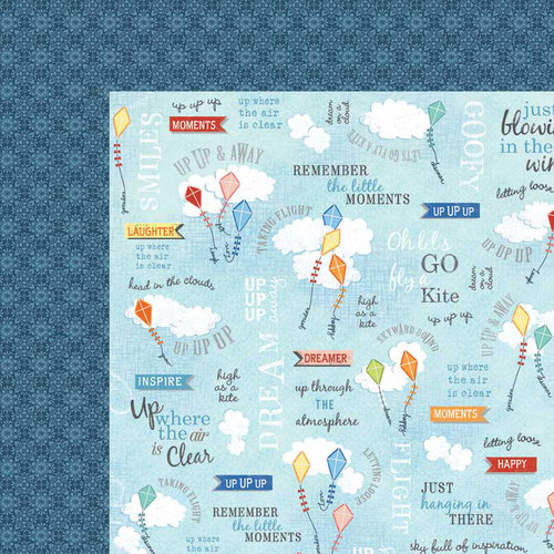Carolee's Creations - Adornit - Time Flies Collection - 12 x 12 Double Sided Paper - Up Up Away Word