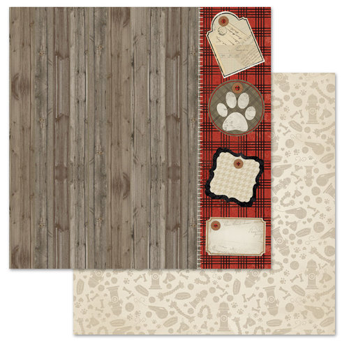 Carolee's Creations - Adornit - Hound Dog Collection - 12 x 12 Double Sided Paper - Dog Tags