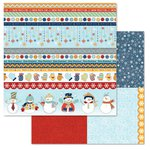 Carolee's Creations - Adornit - Snow Days Collection - 12 x 12 Double Sided Paper - Snowman Tickertape