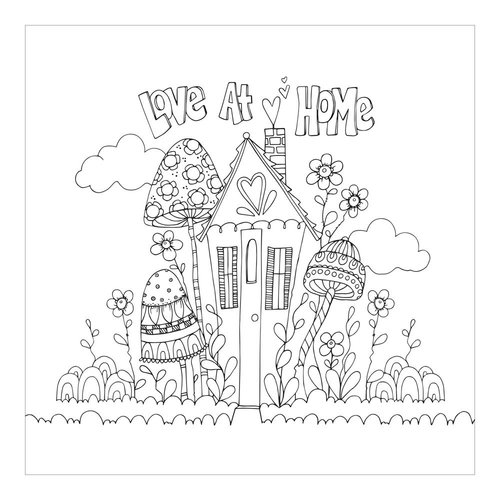 Carolee's Creations - AdornIt - Art Play Paintables - 12 x 12 Paper - Love at Home