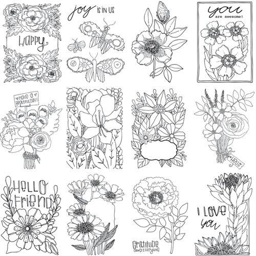 Carolee's Creations - AdornIt - Art Play Paintables - 12 x 12 Paper - Joy Flowers