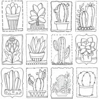 Carolee's Creations - AdornIt - Art Play Paintables - 12 x 12 Paper - Cactus Love