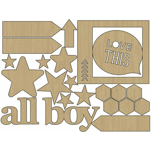 Carolee's Creations - Adornit - Rough and Tough Collection - Wood Shapes - All Boy