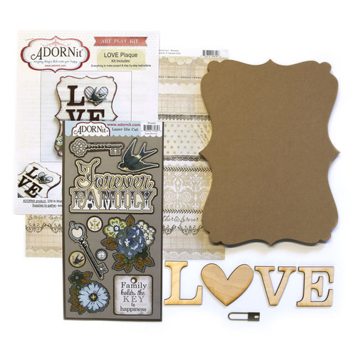 Carolee's Creations - Adornit - Art Play Kit - Wood Word Plaque - Love