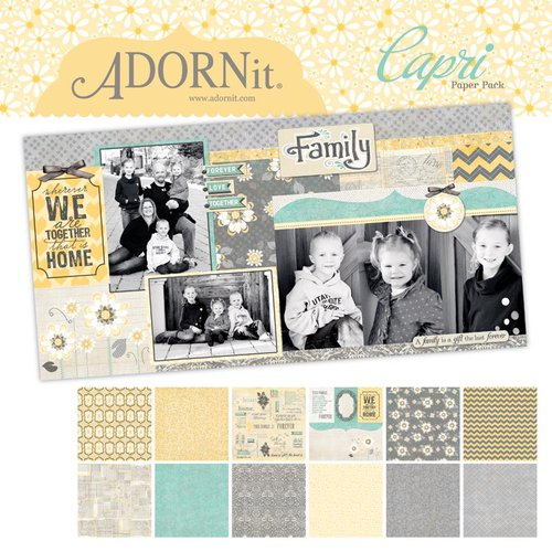 Carolee's Creations - Adornit - Capri Collection - 12 x 12 Paper Pack