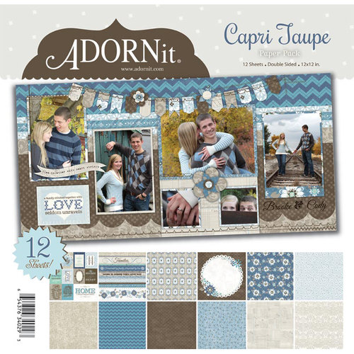 Carolee's Creations - Adornit - Capri Taupe Collection - 12 x 12 Paper Pack