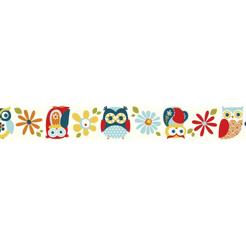 Carolee's Creations - Adornit - Nested Owls Charcoal Collection - Ribbon - Owls Jumbo - Blue