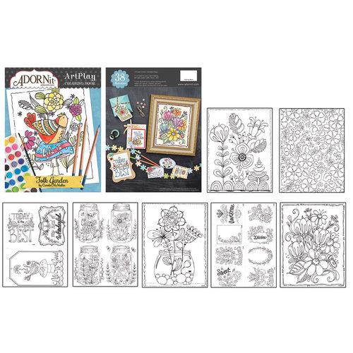 Carolee's Creations - AdornIt - Art Play Coloring Book - Folk Garden