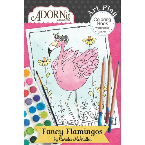 Carolee's Creations - AdornIt - Art Play Coloring Book - Mini - Fancy Flamingo