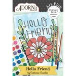 Carolee's Creations - AdornIt - Art Play Coloring Book - Mini - Hello Friend