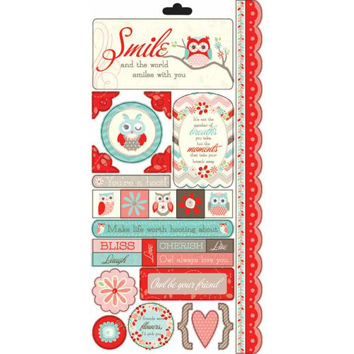Carolee's Creations - Adornit - Nested Owls Coral Collection - Cardstock Stickers - Owl Coral