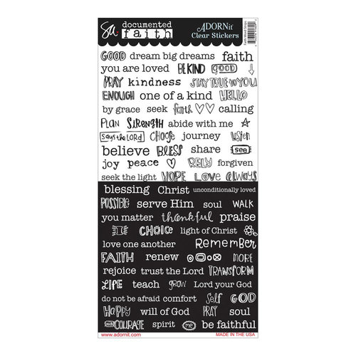Carolee's Creations - Adornit - Documented Faith Collection - Clear Stickers - Faith Word Strips
