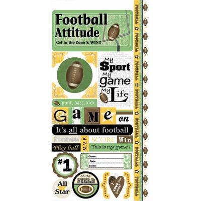 Carolee's Creations - Adornit - Football Collection - Cardstock Stickers - Football Attitude