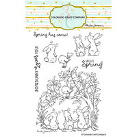 Colorado Craft Company - Clear Photopolymer Stamps - Bunnies and Robin