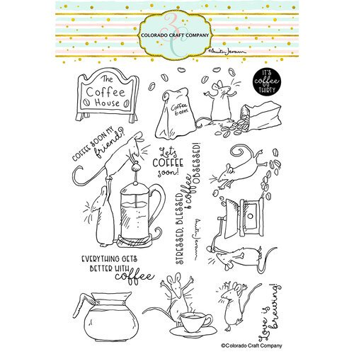 Colorado Craft Company - Clear Photopolymer Stamps - Coffee House
