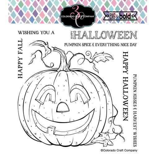 Colorado Craft Company - Big and Bold Collection - Clear Photopolymer Stamps - Jack-O-Lantern