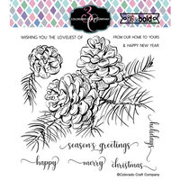 Colorado Craft Company - Big and Bold Collection - Clear Photopolymer Stamps - Pinecone and Branch