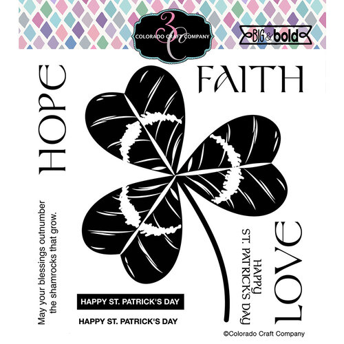 Colorado Craft Company - Big and Bold Collection - Clear Photopolymer Stamps - Shamrock Trinity