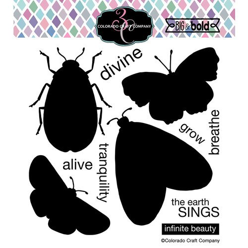 Colorado Craft Company - Big and Bold Collection - Clear Photopolymer Stamps - Insect Solids