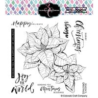 Colorado Craft Company - Big and Bold Collection - Clear Photopolymer Stamps - Poinsettia Blessings