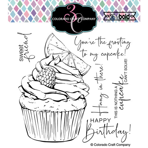 Colorado Craft Company - Big and Bold Collection - Clear Photopolymer Stamps - Citrus Berry Cupcake