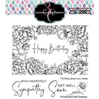 Colorado Craft Company - Big and Bold Collection - Clear Photopolymer Stamps - Peonies Frame