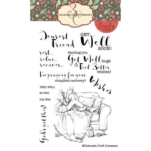 Colorado Craft Company - Lovely Legs Collection - Clear Photopolymer Stamps - Get Well