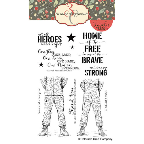 Colorado Craft Company - Lovely Legs Collection - Clear Photopolymer Stamps - Military Strong
