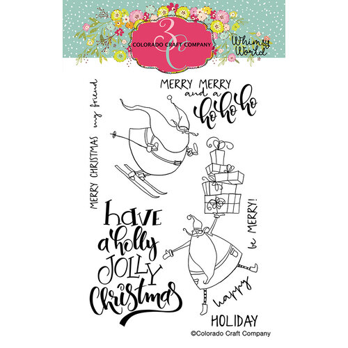 Colorado Craft Company - Whimsy World Collection - Clear Photopolymer Stamps - Holly Jolly Santas