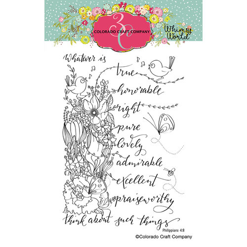 Colorado Craft Company - Whimsy World Collection - Clear Photopolymer Stamps - Whatsoever Things Spray