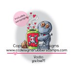 CC Designs - Doodle Dragon Collection - Cling Mounted Rubber Stamps - Voodoo Love