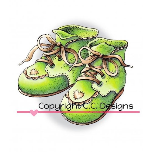 CC Designs - DoveArt Studio Collection - Cling Mounted Rubber Stamps - Baby Shoes