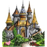 CC Designs - DoveArt Studio Collection - Cling Mounted Rubber Stamps - Castle