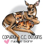 CC Designs - DoveArt Studio Collection - Cling Mounted Rubber Stamps - Doe And Fawn