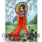 CC Designs - DoveArt Studio Collection - Cling Mounted Rubber Stamps - Geisha